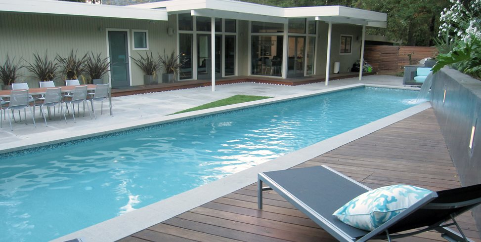 Wood Pool Deck Shades of Green Landscape Architecture Sausalito, CA