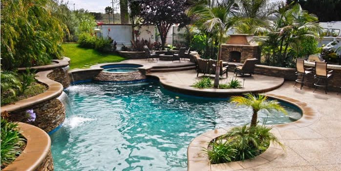 freeform swimming pool tropical landscaping oakbrook landscape inc capistrano beach ca