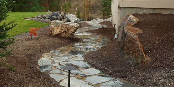 Flagstone Path, Path Lights Walkway and Path Copper Creek Landscaping, Inc. Mead, WA