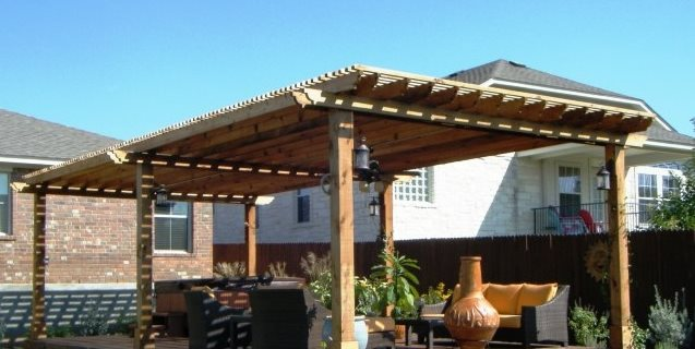 Large Wooden Pergola Walkway and Path Lone Star Land Design Austin, TX