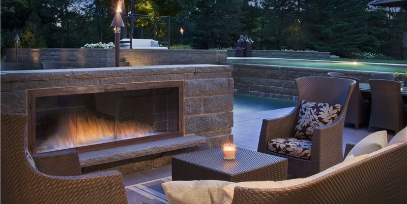 Low Outdoor Fireplace Walkway and Path Zaremba and Company Landscape Clarkston, MI