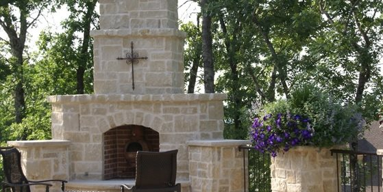 Stone Outdoor Fireplace Walkway and Path Landvisions TX Tyler, TX