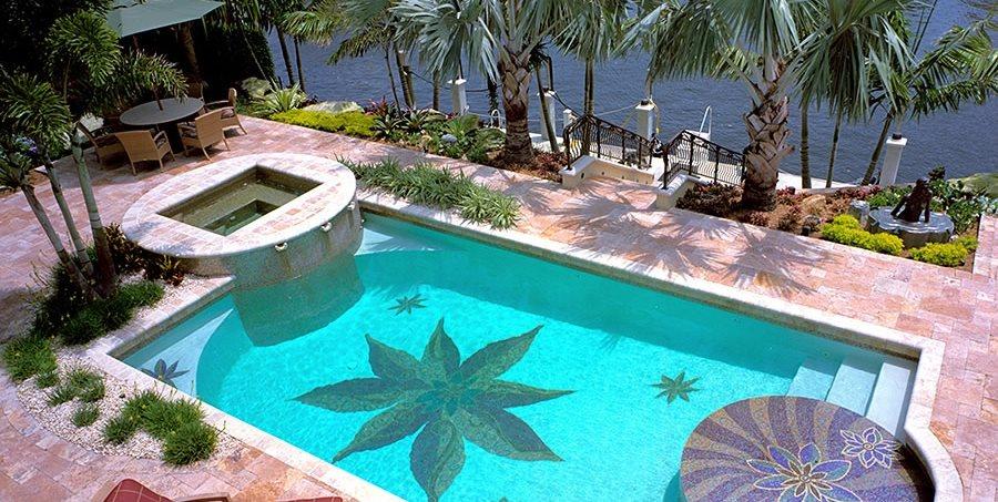 Swimming Pool Mosaic Walkway and Path Botanical Visions Boca Raton, FL