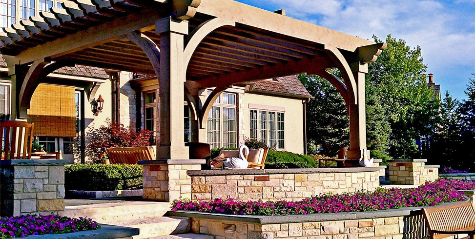 Custom, Wood, Pergola Front Yard Landscaping Romani Landscape Architecture Glencoe, IL