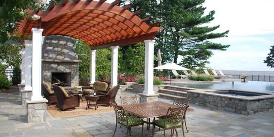 Arched Pergola, Redwood Pergola Pergola and Patio Cover Walnut Hill Landscape Company Annapolis, MD
