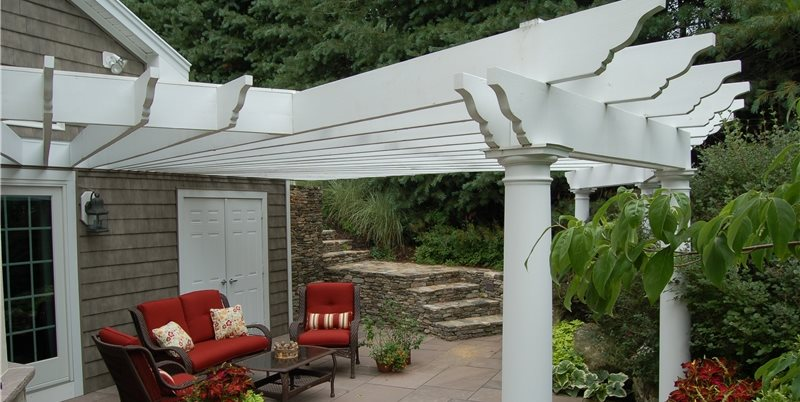 Attached White Patio Cover Pergola And Patio Cover Fieldstone Design  Leominster, MA