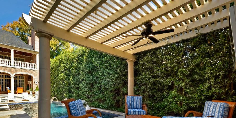 Freestanding Patio Cover, Pergola Columns, Pergola Fan Pergola and Patio Cover Harold Leidner Landscape Architects Carrollton, TX
