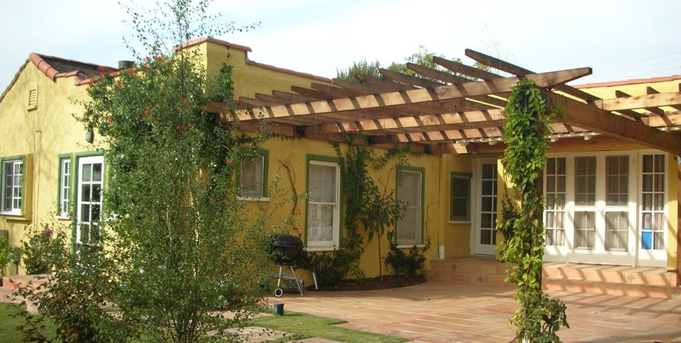 Spanish House, Wooden Backyard Patio Cover Pergola and Patio Cover Stout Design Build Los Angeles, CA