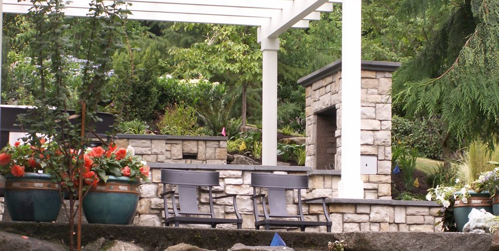 Stone Slab Steps, White Pergola Environmental Construction, Inc. Kirkland, WA