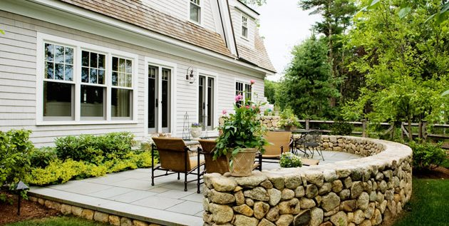 Stone Patio Wall, Luxury Backyard Patio Patio Yard Boss Landscape Design LLC Mattapoisett, MA