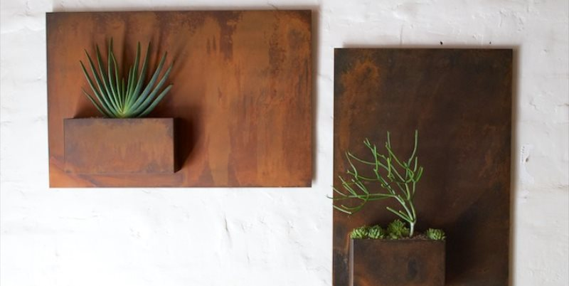 City Planter, Potted, Steel Wall Planter, Rusty Patina Potted Los Angeles, CA