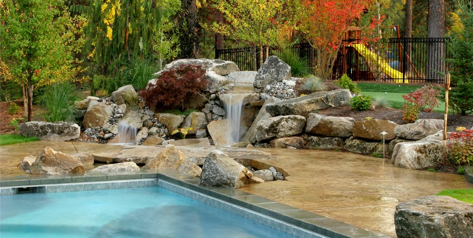 Natural Backyard Waterfall Copper Creek Landscaping, Inc. Mead, WA