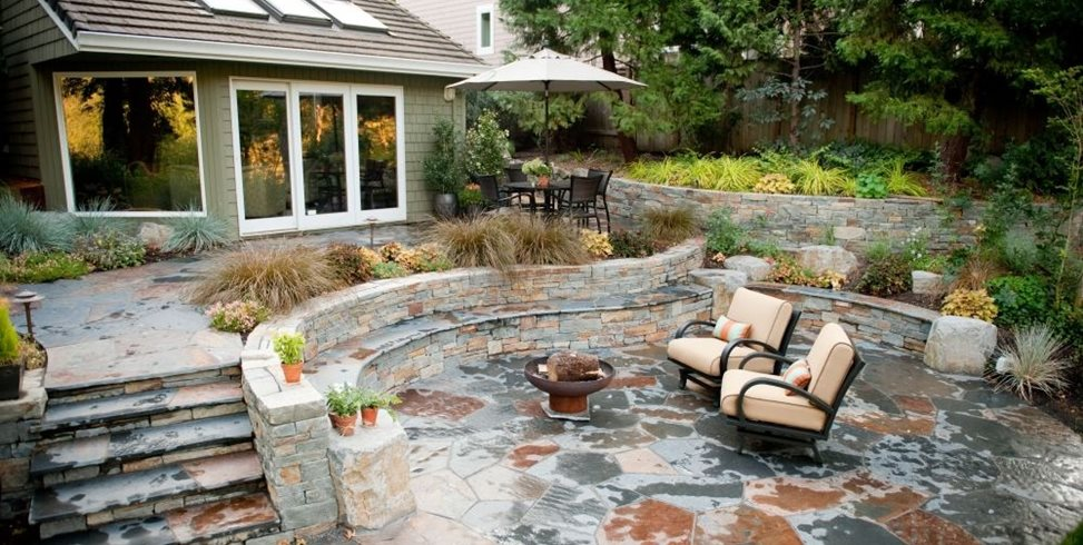 Rustic, Patio, Stone, Outdoor Living, Walls, Steps, Fire Pit Gregg and Ellis Landscape Designs Portland, OR