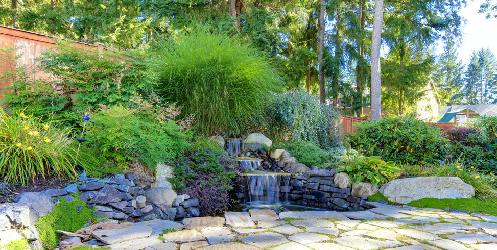 Tiered Backyard Waterfall Pond and Waterfall Landscaping Network Calimesa, CA
