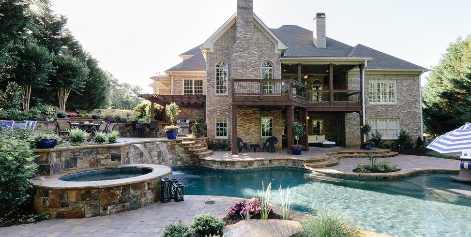 Canton Backyard, Backyard Pool Swimming Pool Miller Landscape Woodstock, GA