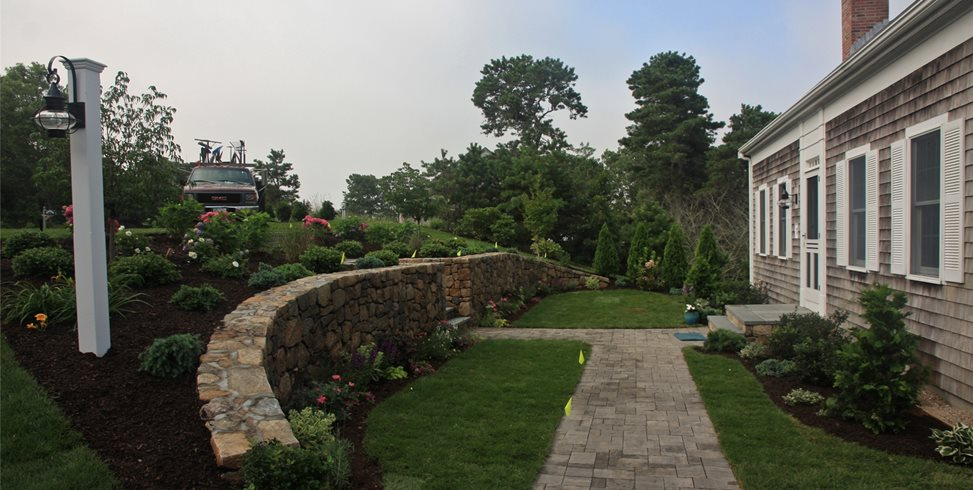 front retaining wall retaining and landscape wall elaine m johnson landscape design centerville ma - Retaining Wall Designs