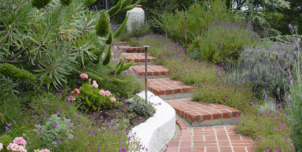 brick steps garden steps maureen gilmer morongo valley ca - Garden Design Slope