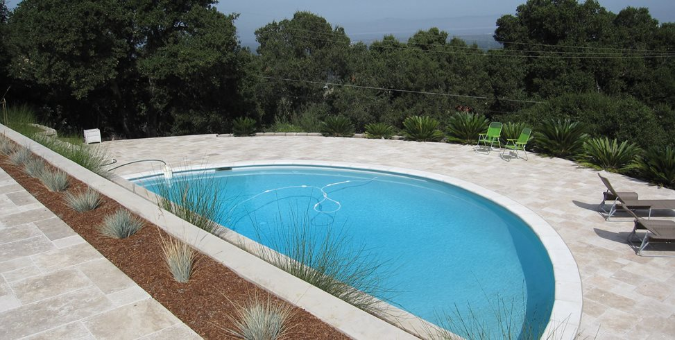Half Circle Pool Shades of Green Landscape Architecture Sausalito, CA