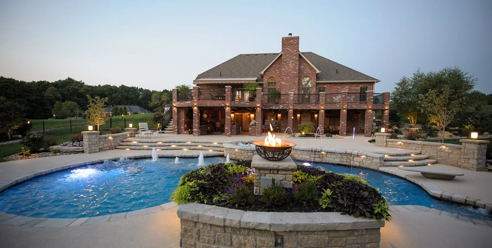 Fancy Swimming Pool, Pool Play Jets Swimming Pool Artistic Group Inc. St. Louis, MO