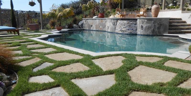 Raised Bond Beam Pool, Flagstone And Grass Swimming Pool Quality Living Landscape San Marcos, CA
