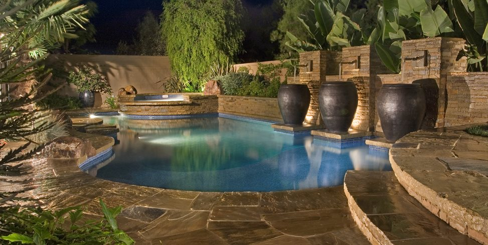 Swimming Pool, Water Feature, Large Urns Swimming Pool Alderete Pools Inc. San Clemente, CA