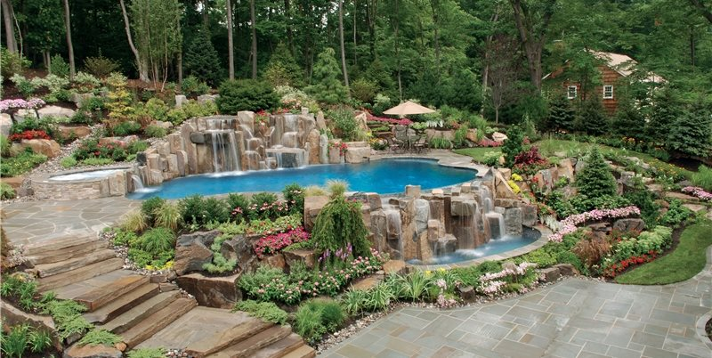 swimming pool waterfalls swimming pool cipriano landscape design mahwah nj - Gunite Pool Design Ideas