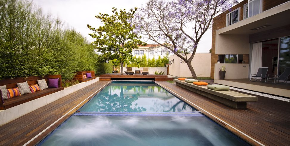 Wood Deck Swimming Pool Swimming Pool Z Freedman Landscape Design Venice, CA