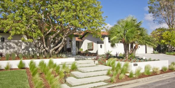 Front, Steps, Grasses, Trees, Concrete Mediterranean Landscaping DC West Construction Inc. Carlsbad, CA