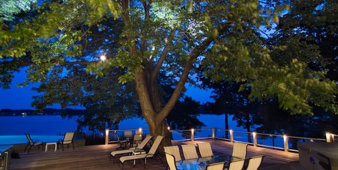 Large Deck, Deck Lighting Mediterranean Landscaping Walnut Hill Landscape Company Annapolis, MD