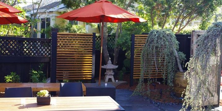Asian, Patio, Stone Lantern, Umbrella Shepard Design Landscape Architecture Greenbrae, CA