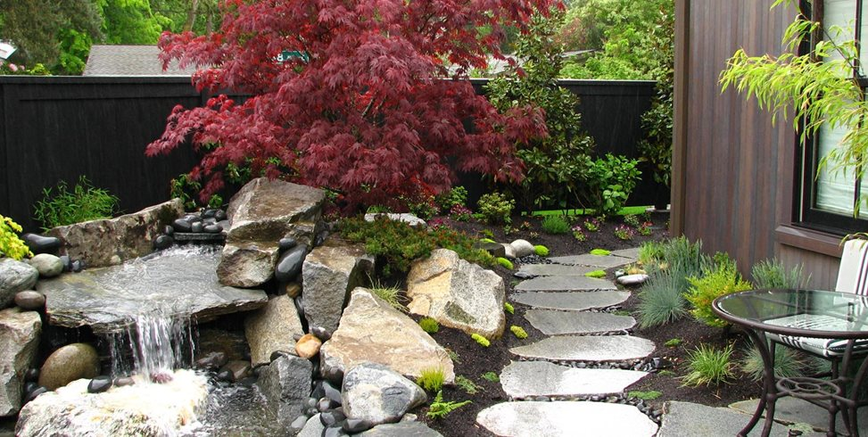 Stone Waterfall, Boulder Waterfall, Front Yard Waterfall Stock & Hill Landscapes, Inc Lake Stevens, WA