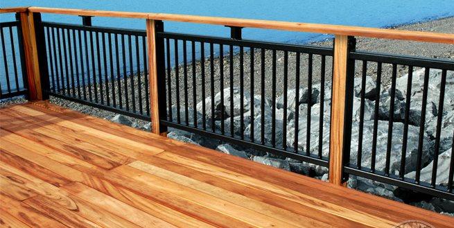 Tigerwood Deck, Black Railing Advantage Lumber Buffalo, NY