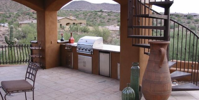 Built In Grill, Covered, Stucco Outdoor Kitchen JSL Landscape LLC Sedona, AZ