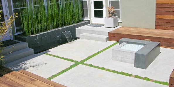 Modern, Concrete, Patio, Fire Feature Walkway and Path DC West Construction Inc. Carlsbad, CA