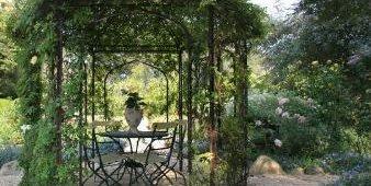 Iron, Arbor, Garden, Victorian Side Yards Donna Lynn Landscape Design Santa Barbara, CA