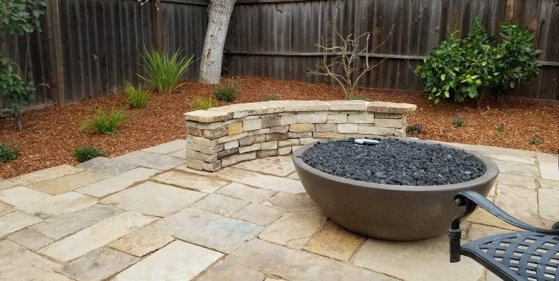Gas Fire Bowl, Stone Seat Wall Greener Environments Los Osos, CA