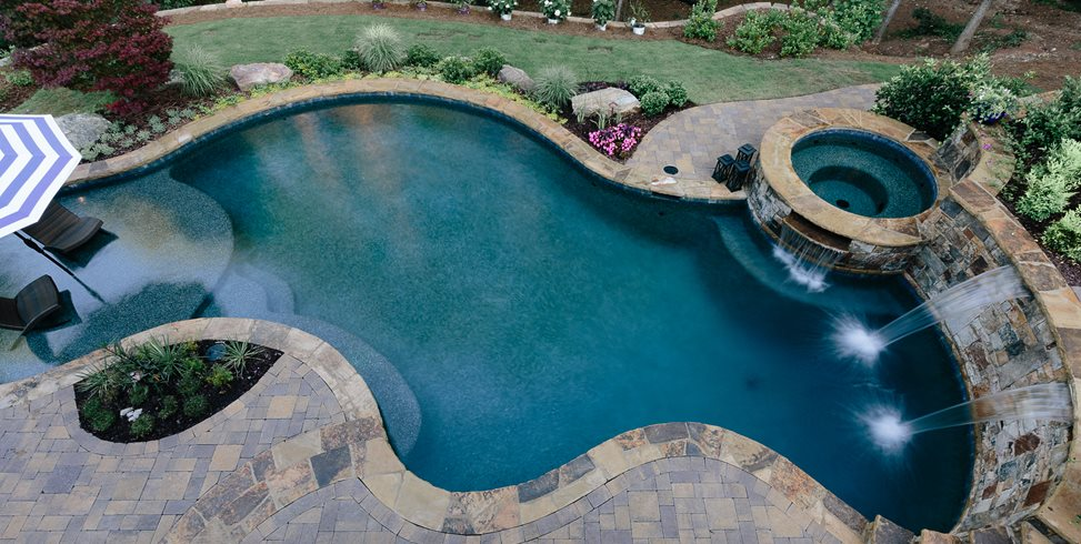 Pool Deck Pavers, Pool Overhead Miller Landscape Woodstock, GA