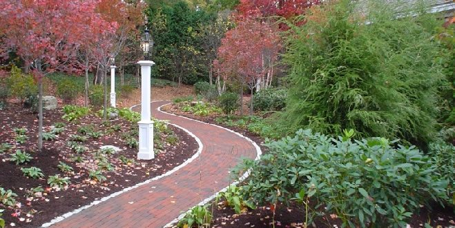 Curved Brick Path Walkway and Path Fieldstone Design Leominster, MA