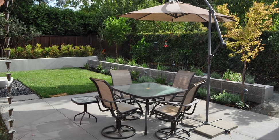 Spacious Patio Area Driveway Huettl Landscape Architecture Walnut Creek, CA