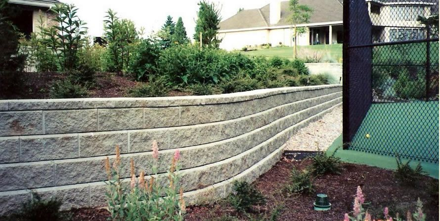 Gray Block Wall, Curved Retaining Wall Retaining and Landscape Wall Woody's Custom Landscaping Inc Battle Ground, WA
