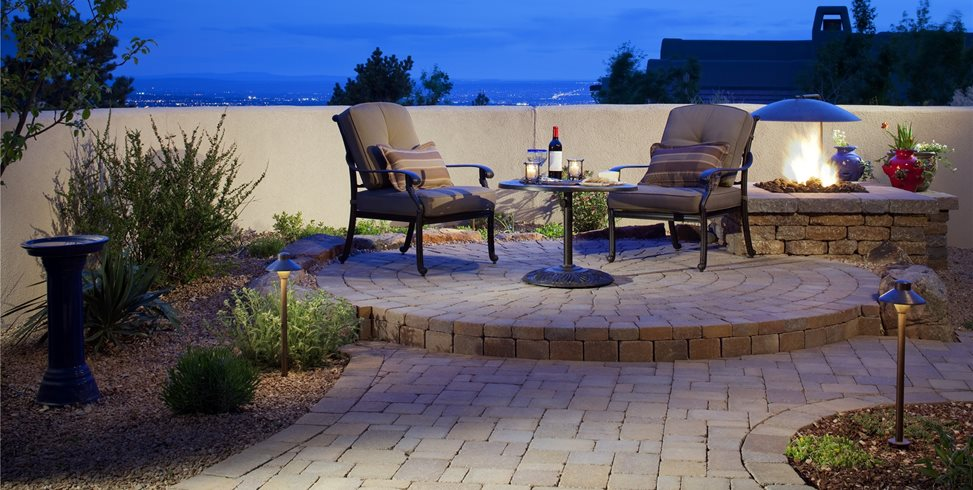 Round, Small, Raised, Patio, Pavers, Fire Pit, Lighting WaterQuest, Inc. Albuquerque, NM