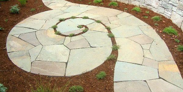 Spiraling Bluestone Walkway Walkway and Path Beautiful Bones & Purple Stones Landscape Design Portland, OR
