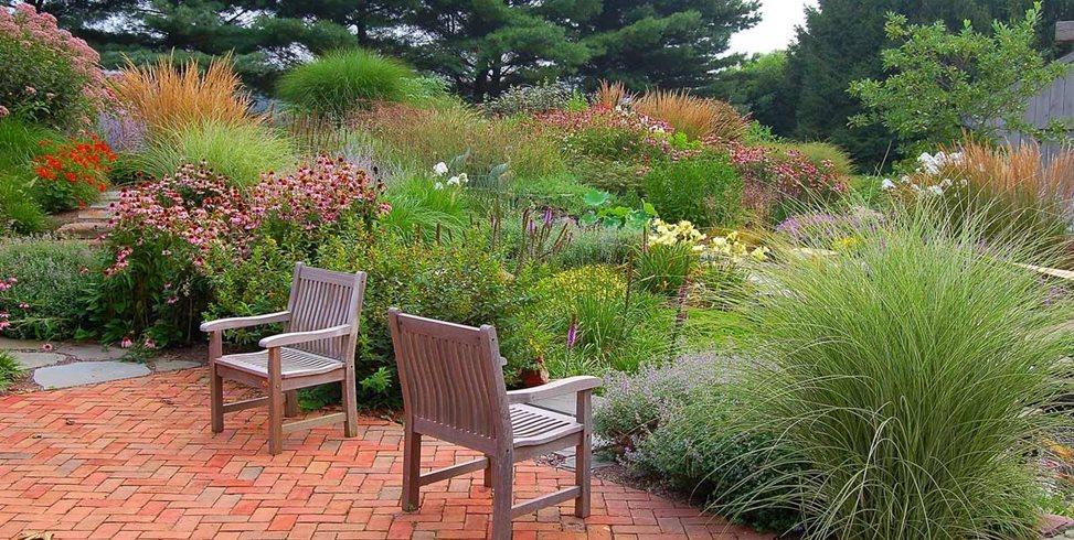 Naturalistic Planting Scheme, Brick Paving Garden Design Fernhill Landscapes Strasburg, PA