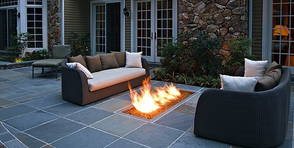 Backyard Gas Fire Feature, Fire Trough Fire Pit Beechwood Landscape Architecture & Construction Southampton, NJ