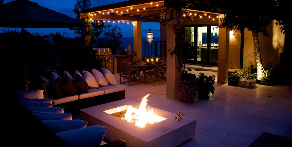 Outdoor Entertaining Night Fire Pit Fiore Design North Hollywood, CA