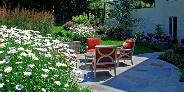 Small Patio, Stone Patio, Teak Furniture Botanical Decorators Olney, MD
