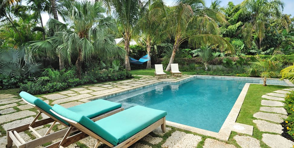 Tropical, Pool, Chaise Lounges, Palms, Green Swimming Pool Craig Reynolds Landscape Architecture Key West, FL