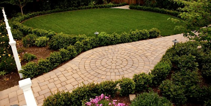 Paver Walkway, Lawn, Drip Irrigation Aesthetic Gardens Mountain View, CA
