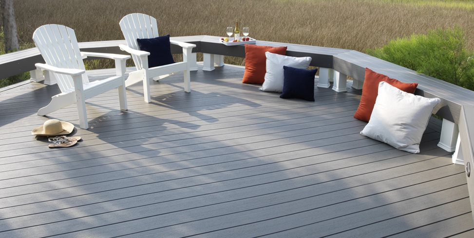 Gray Deck Boards, Deck Bench Deck Design TimberTech Wilmington, OH