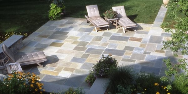 Cut Bluestone Patio Driveway Hoffman Landscapes Wilton, CT